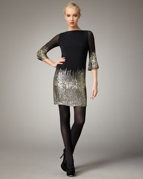 Kendra Sequined Shift Dress