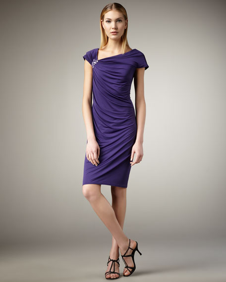 Beaded-Detail Jersey Dress