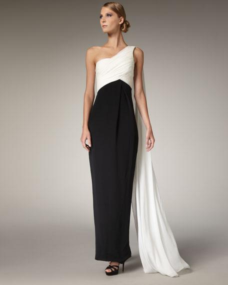 Two-Tone Chiffon Gown