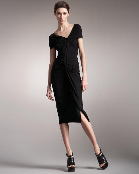 Draped Jersey Twist Skirt
