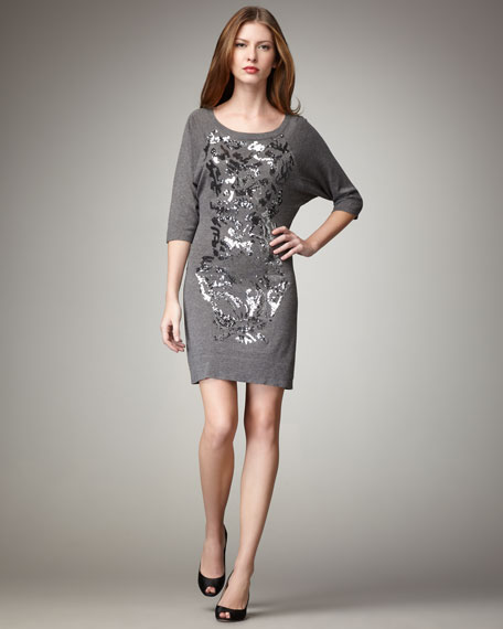 Sequin-Front Jersey Dress