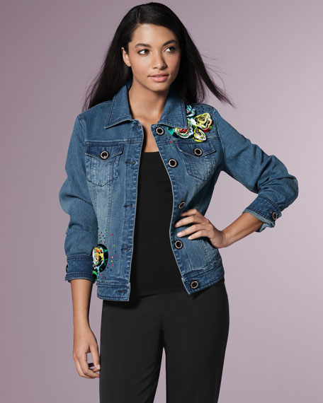 Floral-Detail Denim Jacket, Petite