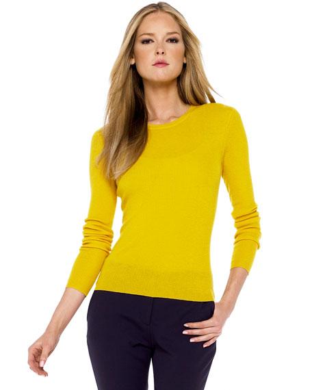 Ribbed Cashmere Sweater, Indigo-Navy