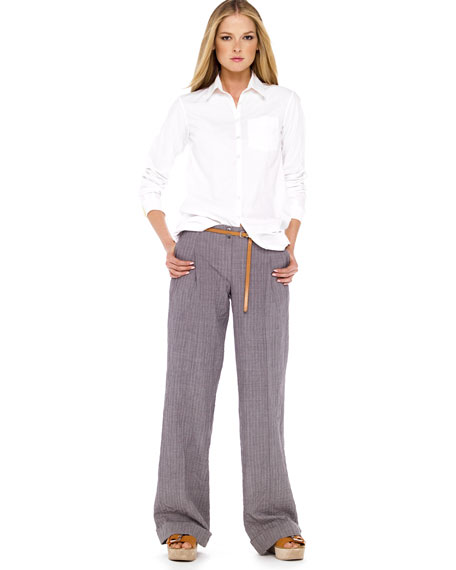Crushed Pinstripe Trousers