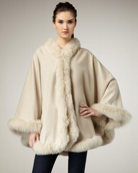 Fur-Trim Cashmere Cape, Stone