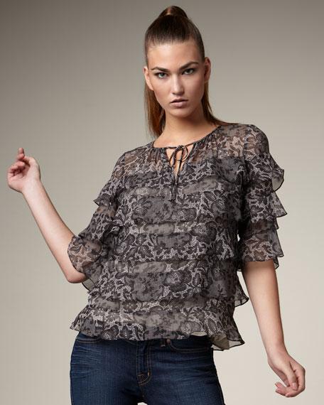 Ruffled Lace-Print Top