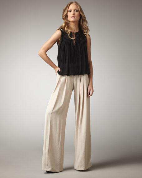 Wide-Leg Silk Pants, Ivory