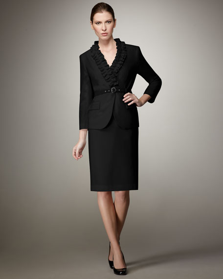 Ruffled Gabardine Suit, Women's