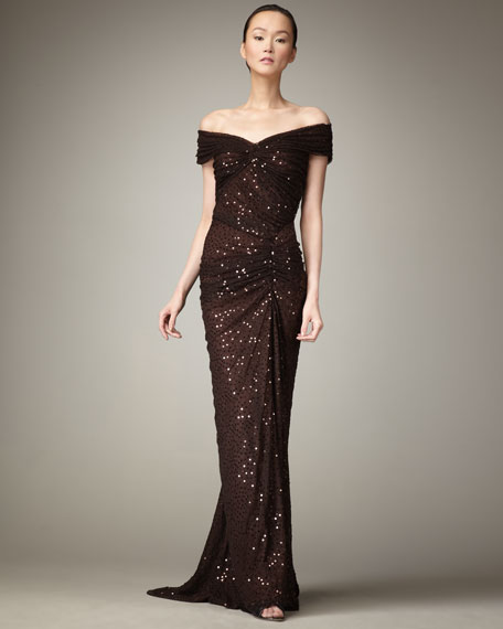 Sequined Off-Shoulder Gown