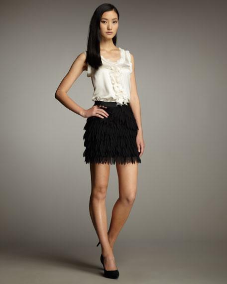 Feathered-Chiffon Skirt