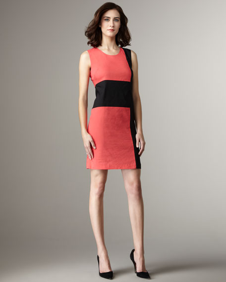 Colorblock Sheath Dress, Shock