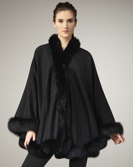 Fur-Trim Cashmere Cape, Black