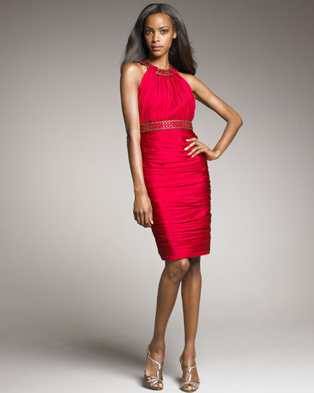 Ruched Beaded Cocktail Dress