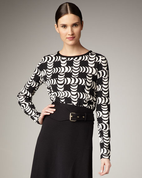 Effie Printed Jersey Top