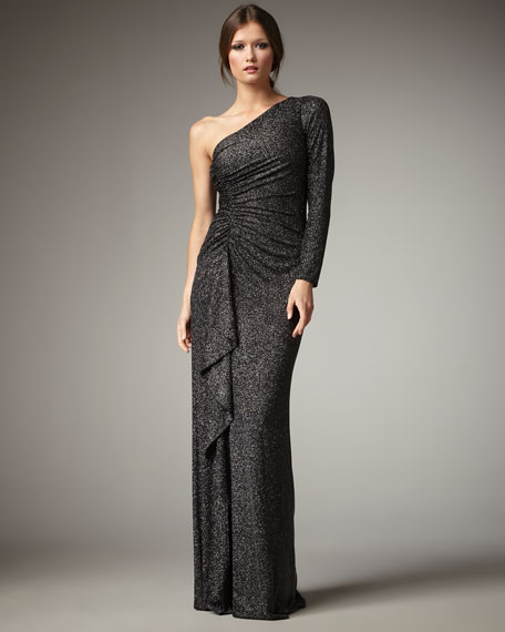 One-Sleeve Glitter Gown