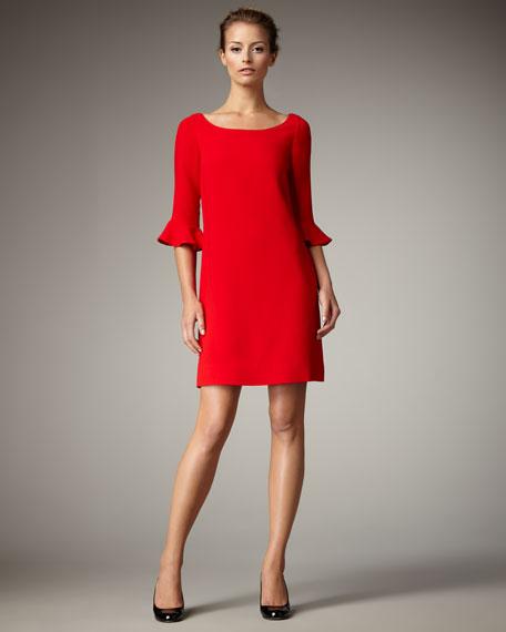luna trumpet-sleeve dress