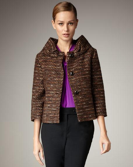 britt round-neck tweed jacket