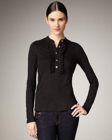 Romilly Ruffle Top, Black
