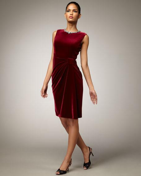 Jewel-Neck Velvet Dress