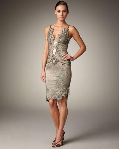 Deep-V Lace Sequin Dress