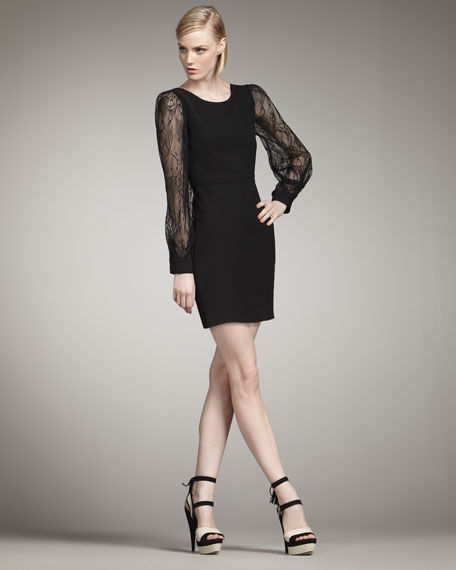 Andrews Lace-Sleeve Dress