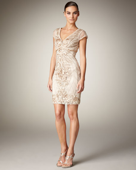 Cap-Sleeve Illusion Dress