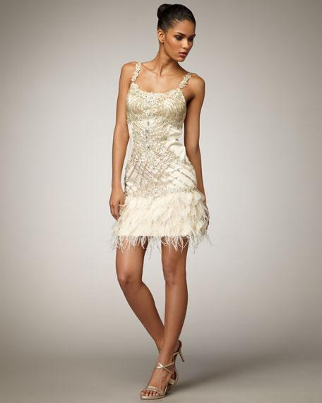 Feather-Hem Scoop-Neck Dress