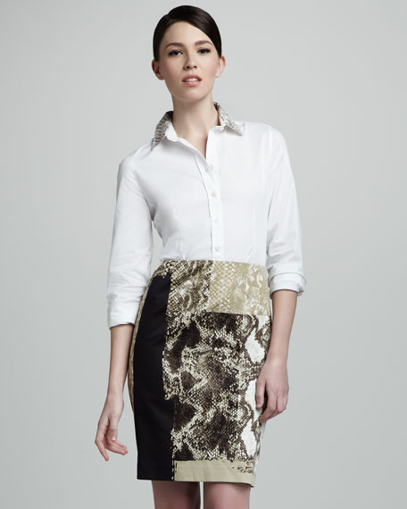 Cindy Snake-Print Pencil Skirt