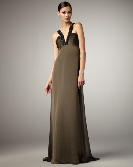 Contrast-Strap Gown