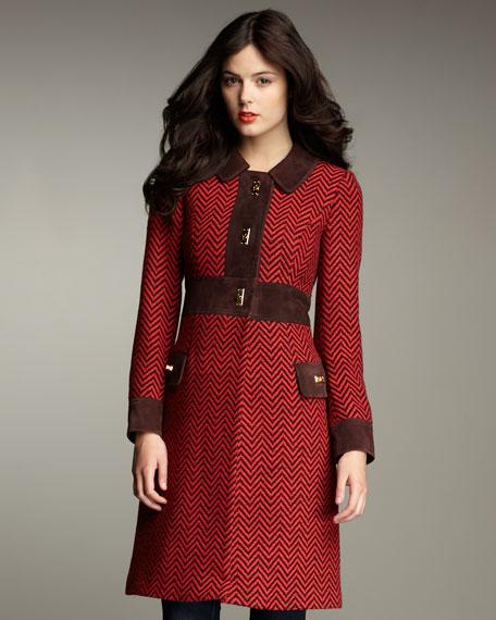 Camille Luggage-Lock Tweed Coat