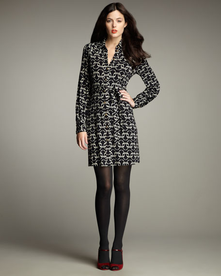 Stirrup-Print Belted Dress
