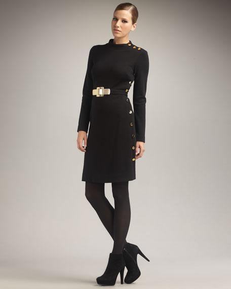 Rachelle Belted Dress, Black