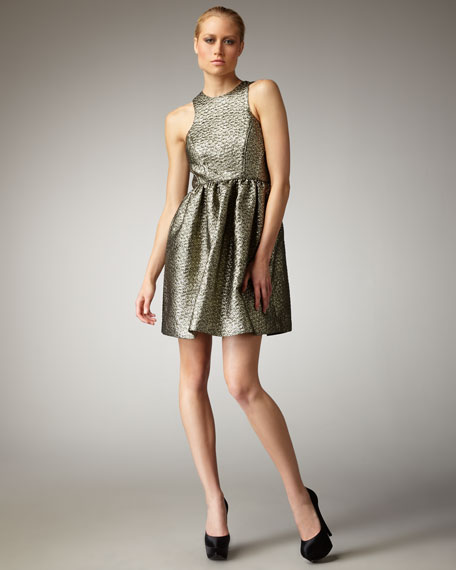 Metallic Paisley Jacquard Dress
