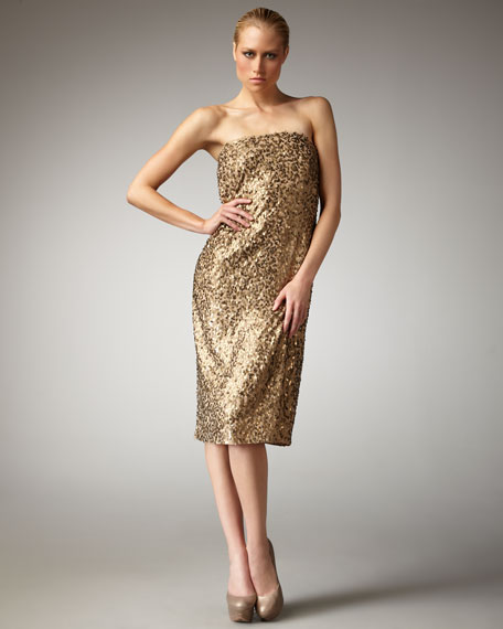 Petali Sequined Strapless Dress