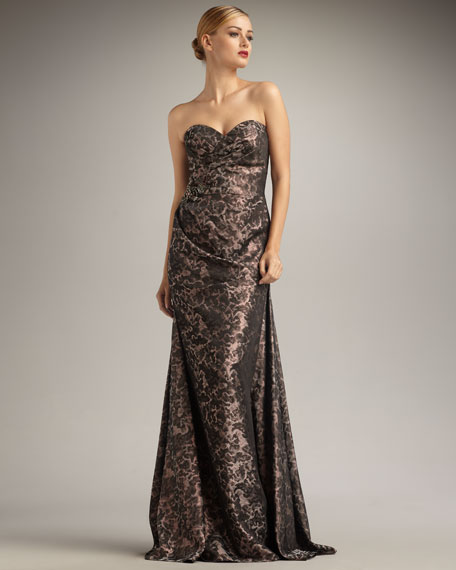 Sweetheart Animal-Jacquard Gown