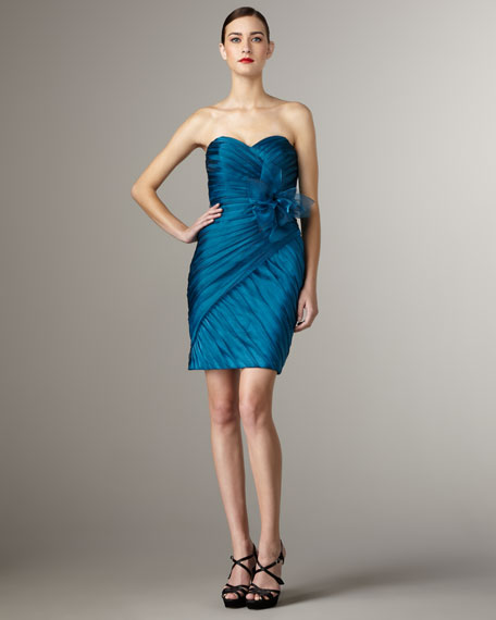Shimmer Organza Strapless Dress