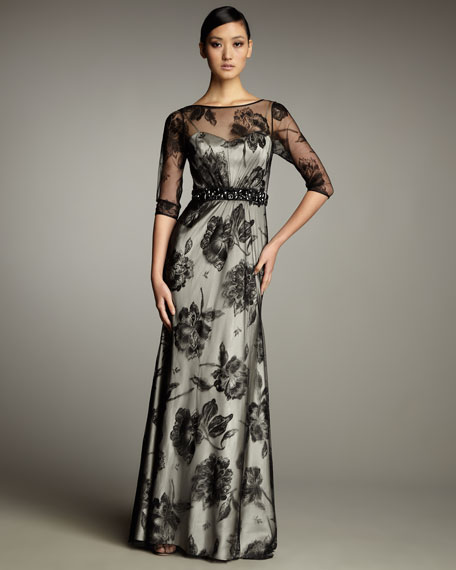 Half-Sleeve Lace Illusion Gown