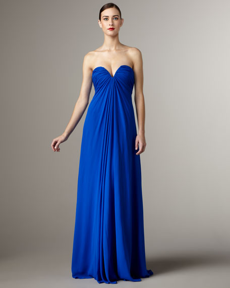 Strapless Sweetheart Silk Gown