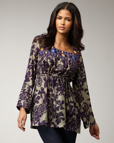 Maria Printed Silk Tunic, Women's