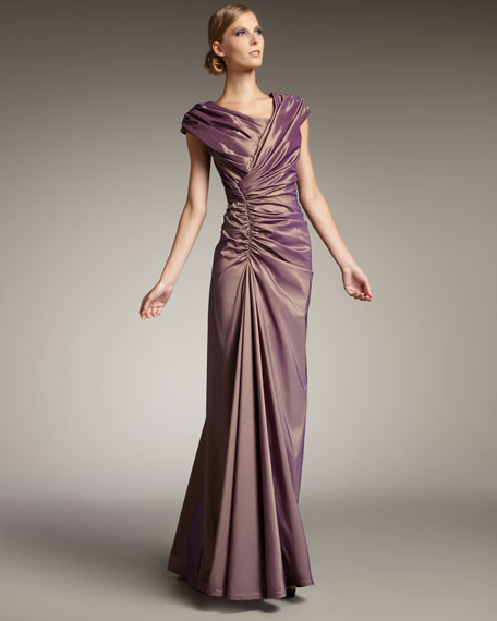 Ruched Taffeta Gown