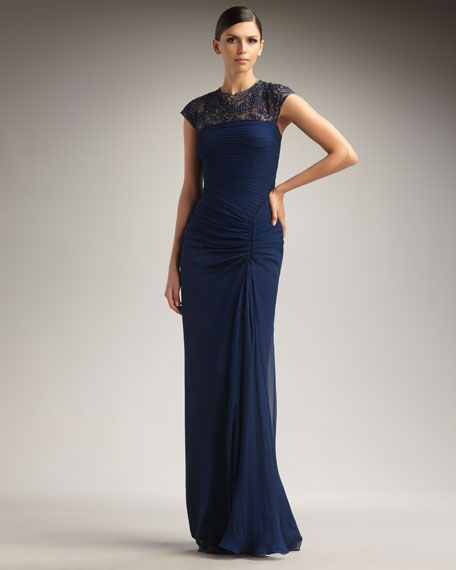 Cap-Sleeve Illusion-Top Gown