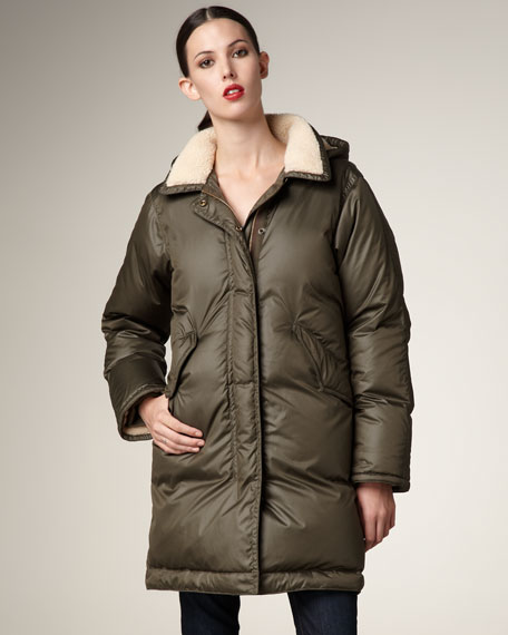 Fleece-Trim Puffer Jacket