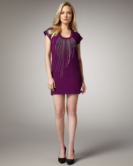 Chain-Necklace Jersey Dress