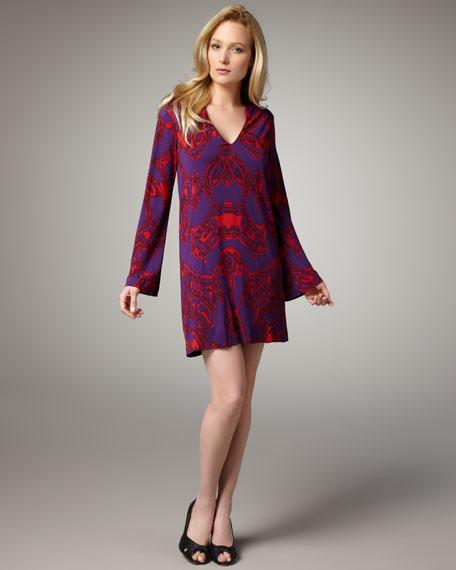 Two-Tone Printed Shift Dress