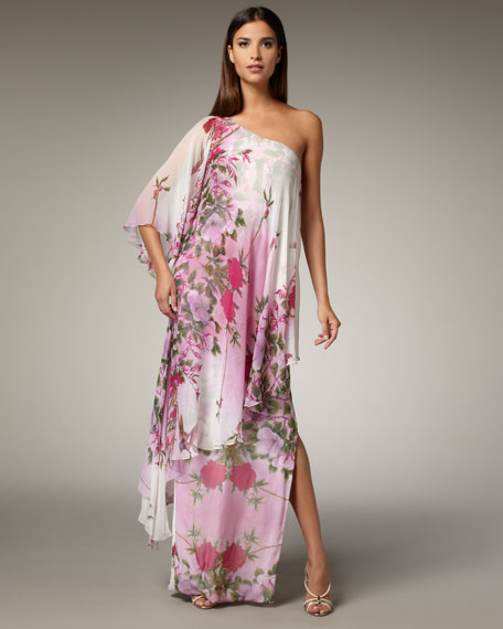 One-Shoulder Caftan Gown