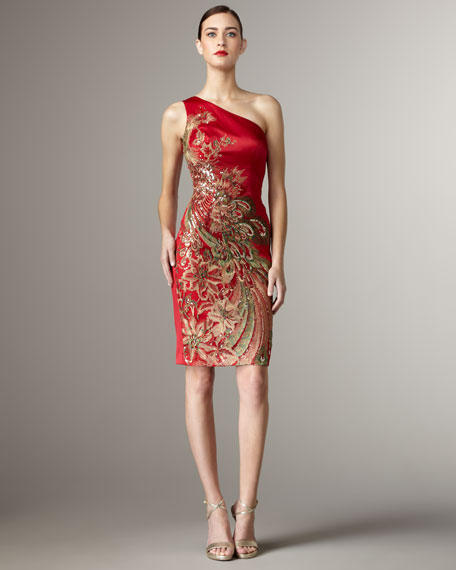 Oriental One-Shoulder Dress