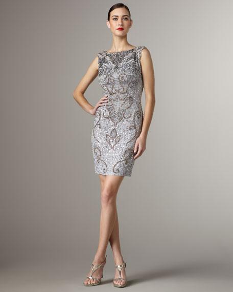 High-Neck Beaded Dress