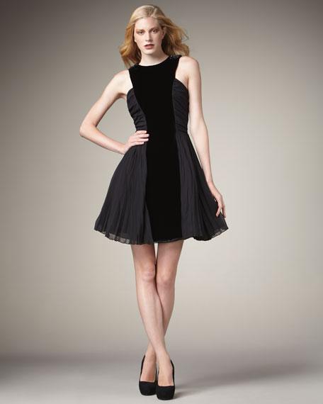 Velvet-Panel Party Dress
