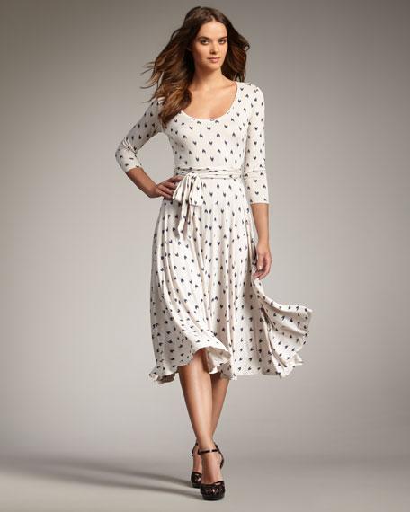 Heart-Print Jersey Dress