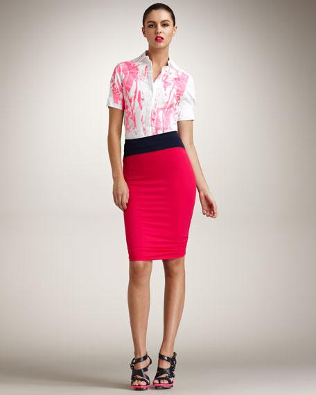 Colorblocked Pencil Skirt